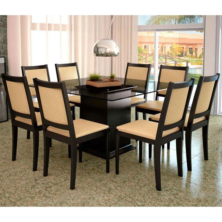 Conjunto de Mesa e 8 Cadeiras Com Tampo de Vidro Quadrado Larissa Plus