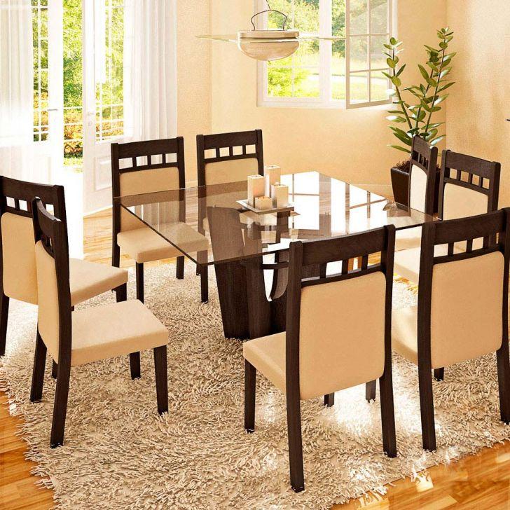 Conjunto de Mesa e 8 Cadeiras Com Tampo de Vidro Quadrado Mariane