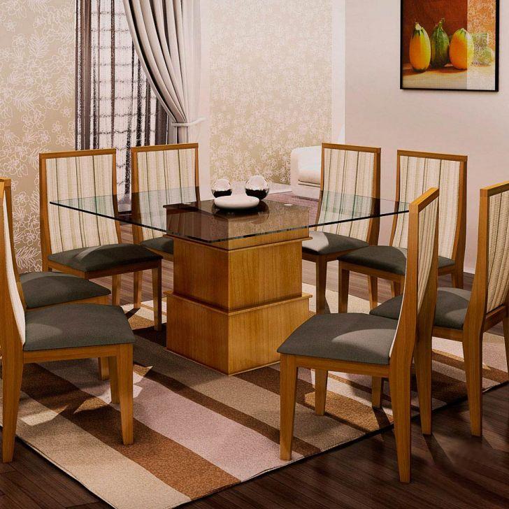 Conjunto de Mesa e 8 Cadeiras Com Tampo de Vidro Quadrado Simone Plus