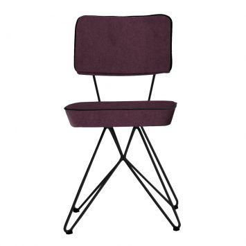 Cadeira Retrô Em Aço Com Assento Em Veludo Berinjela Daf 8068.0042