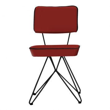 Cadeira Retrô Em Aço E Assento Em Couro Vermelho Daf 8068.0040