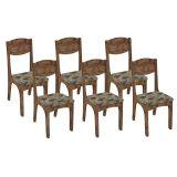 Conjunto 6 Cadeiras Estofadas Ca12/6 Nf1 Nobre Tecido Chenile Flor - Dalla Costa