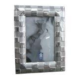 Porta Retrato P3154  em Alumínio Escovado Quadriculado 17x12