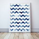 Poster A4 Water Chevron Blue
