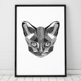Poster Black Cat Paint A4