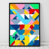 Poster Mosaic Triangles A3