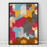 Poster Retro Color Triangles A4