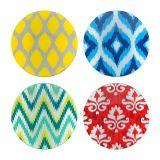 Conjunto 04  Pratos Decorativos Colorido