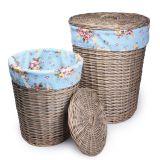 Conjunto Cestos para Banheiro Azul Floral