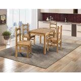 Conjunto Mesa de 100cm x 80cm com 4 Cadeiras Cancun - Madeira Maciça Pinus - Acabamento Cera