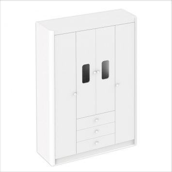 Guarda - Roupa Infantil Bibox 4PT 3GV UV Branco Ditália Móveis Bibox