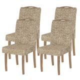 Cadeira Estofada Comfort com 4 Unidades Rústico York-Suede Bege - Dj Móveis