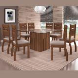 Sala de Jantar Armonia com 8 Cadeiras Marina Madero Tx/Suede Pena Bege - Dj Móveis