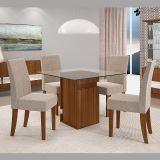 Sala de Jantar New Napoli com 4 Cadeiras Olimpia Castanho Bx/Suede Amassado Bege - Dj Móveis