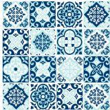 Adesivo de Parede Azulejinho  Barcelos Azul 15x15cm Dona Cereja