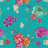 Papel de Parede Adesivo Florale 50x1040cm Turquesa Dona Cereja