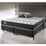 Conjunto Cama Box de Casal Queen Size Soft Comfort Preto c/ Sistema Antiácaro, Antifungo e Antialérgico - (158x198x 25cm)