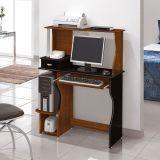 Mesa Para Computador Brigite Imbuia & Preto  Edn Móveis