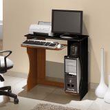 Mesa Para Computador Livia Imbuia & Preto  Edn Móveis