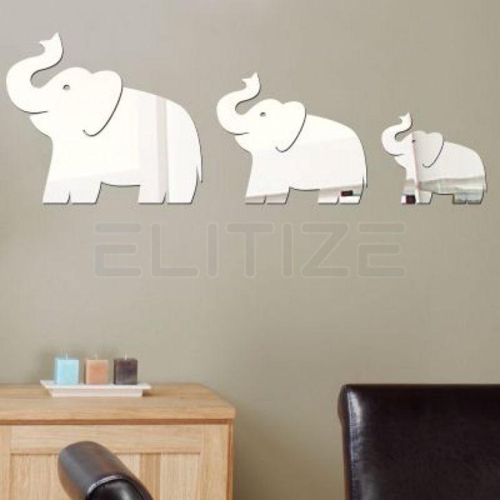 Espelho Decorativo em Acrílico Trio de Elefantes - Grande DESCONTO DE R$: 82,50 (33,33% OFF) - OFERTA MOBLY