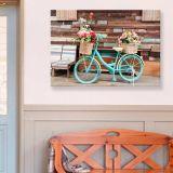 Quadro - Tela em Canvas 100x70cm Bicicleta Vintage com Flores
