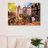 Quadro - Tela em Canvas 100x70cm Bicicletas em Amsterdam, Holanda
