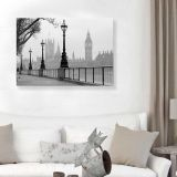 Quadro - Tela em Canvas 100x70cm Big Ben e Parlamento em Dia Nublado, Londres