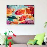 Quadro - Tela em Canvas 100x70cm Colorful Umbrellas