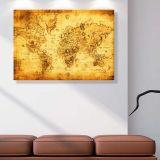 Quadro - Tela em Canvas 100x70cm Mapa Mundi Antigo