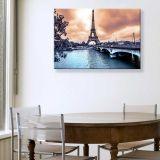 Quadro - Tela em Canvas 100x70cm Torre Eiffel e Rio Sena, Paris