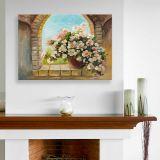 Quadro - Tela em Canvas 100x70cm Vase de Fleurs sur la Fenêtre