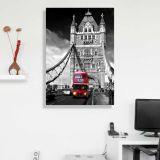 Quadro - Tela em Canvas 70x100cm Red Bus on the Tower Bridge, London