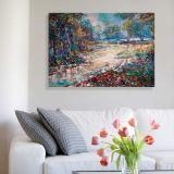 Quadro de Parede - Tela em Canvas 100x70cm Pintura Pontilismo Floresta da Tailandia