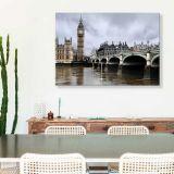 Quadro de Parede - Tela em Canvas 100x70cm Ponte de Westminster e Big Ben, Londres