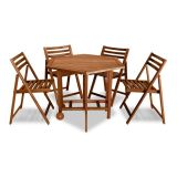 Conjunto de Mesa e 4 cadeiras Akashi Nogueira Entalharte