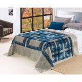 Cobertor Brut Solteiro Azul e Cinza Etruria