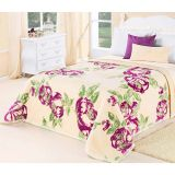 Cobertor Dupla Face Flora King Creme Pistache e Pink Etruria