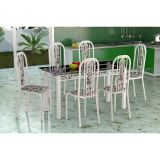 Conjunto De Mesa E 6 Cadeiras Granada Branco Branco Floral Fabone