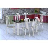 Conjunto De Mesa E 6 Cadeiras Granada Branco Cinza Fabone