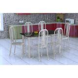 Conjunto De Mesa E 6 Cadeiras Granada Branco Prata Cinza Fabone