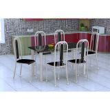 Conjunto De Mesa E 6 Cadeiras Granada Branco Prata Preto Fabone