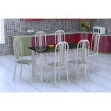 Conjunto De Mesa E 6 Cadeiras Granada Branco Prata Preto Listrado Fabone