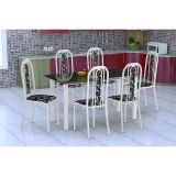Conjunto De Mesa E 6 Cadeiras Granada Branco Preto Floral Fabone