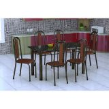Conjunto De Mesa E 6 Cadeiras Granada Preto Amadeirado Fabone