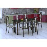 Conjunto De Mesa E 6 Cadeiras Granada Preto Branco Floral Fabone