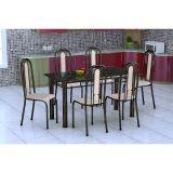 Conjunto De Mesa E 6 Cadeiras Granada Preto Caramelo Fabone