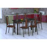 Conjunto De Mesa E 6 Cadeiras Granada Preto Prata Amadeirado Fabone