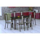 Conjunto De Mesa E 6 Cadeiras Granada Preto Preto Listrado Fabone