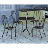 Conjunto Mesa Alicante E 4 Cadeiras Alicante Preto Prata E Preto Floral