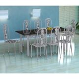Conjunto Mesa Cordoba E 8 Cadeiras Granada Branco Prata E Branco Floral